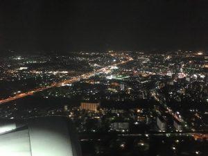 台湾帰りの飛行機から見た夜景