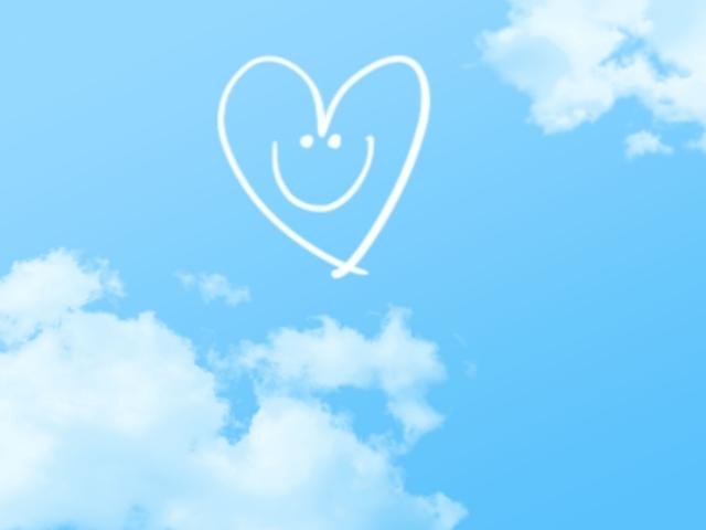 青い空とハートの雲