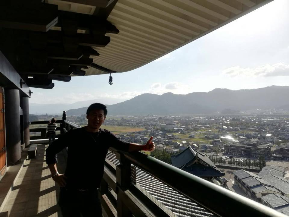 勝山城にて記念写真