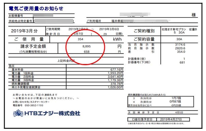 3月のHTBエナジー電気料金の請求書イメージ画像